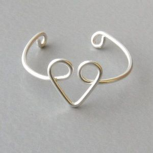 Handmade silver or copper Heart ring adjustable